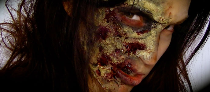 Maquillage d 39 halloween zombie maquillage cynthia - Maquillage latex halloween ...