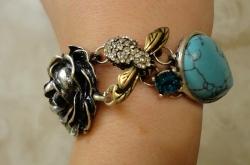 Vintage Green Stone Rose Flower Link Bracelets