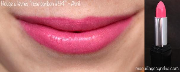 Rouge à lèvres rose bonbon Avril