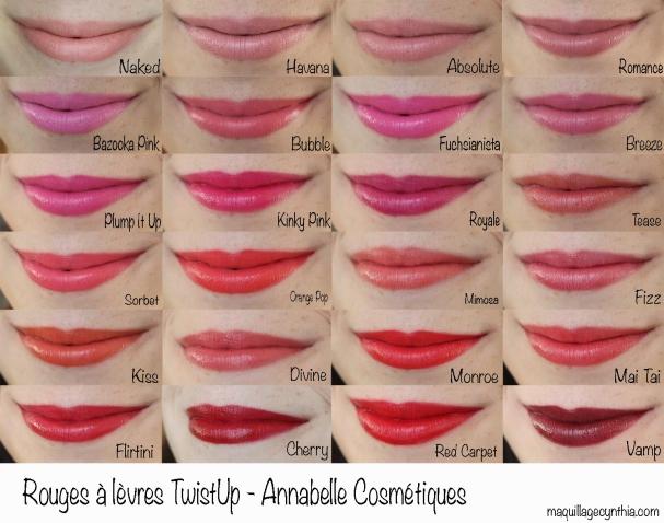 Rouges à lèvres TwistUp Annabelle Cosmétiques swatches