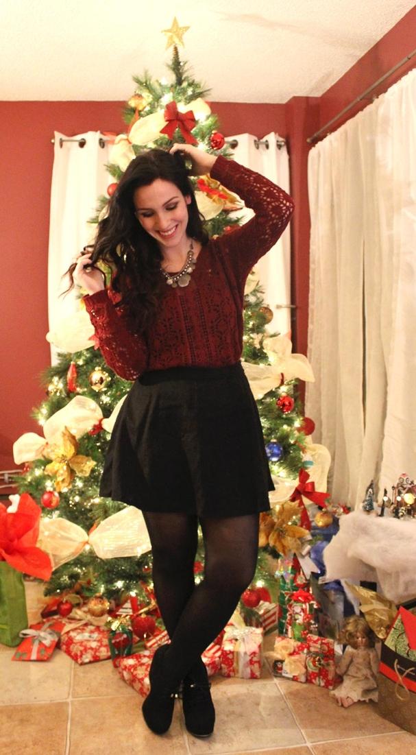 Look 1 - Chandail de laine + skater skirt