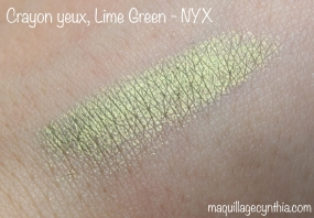 Crayon yeux lime green NYX swatch