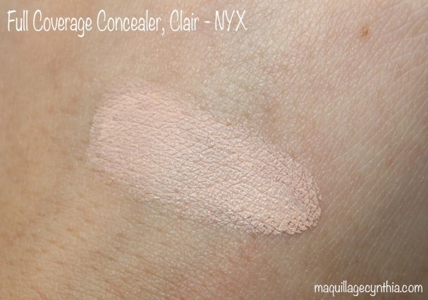 Full coverage concealer fait NYX swatch