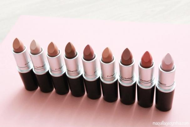 Sélection de rouges à lèvres nus de MAC